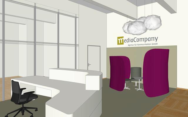 Firma Media Company, Berlin - Tresen und Lounge im Eingangsbereich