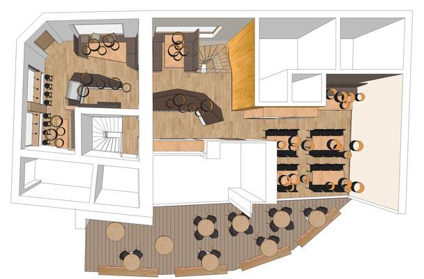 Restaurant Drogerie - Erdgeschoss, Variante 2