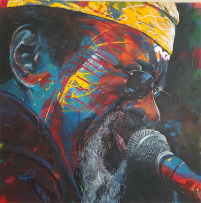 """Black rock - James Blood Ulmer""  Acryl auf Leinwand  80x80cm"