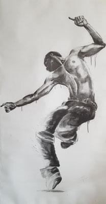 """""""der Tänzer""""  Graphit auf Papier  70 x 140cm"""