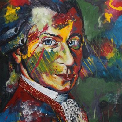 """""""Wolfgang Amadeus Mozart""""  Acryl auf Leinwand  80x80cm"""
