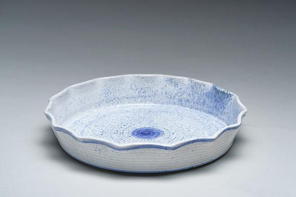 Quiche-/Tarteform, blau gesprenkelt