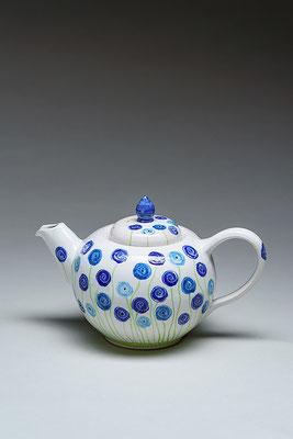 Teekanne 1 Liter, blaue Blumen