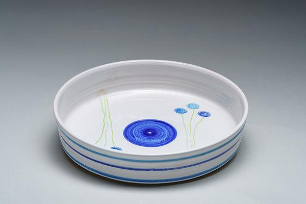 Quiche-/Tarteform, blaue Blumen, gerader Rand ca. D 28 cm