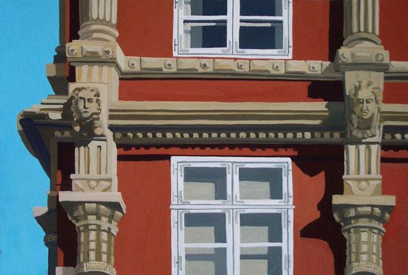 <b>Lüneburg – Lünertorstraße</b><br>Gouache/Papier | 2006 | 19,4 x 29,6 cm<br><small>(Privatbesitz)