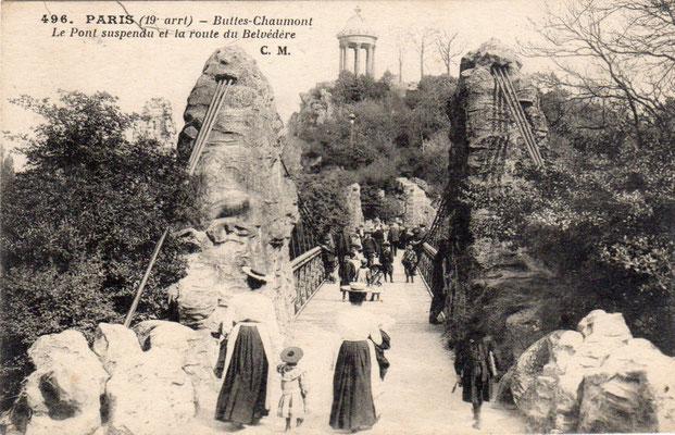 Années 1900 le pont suspendu