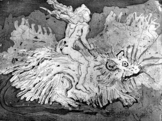Frauen und Ratten verlassen das sinkende Schiff - 15 x 20 cm - Aquatinta - 2013 (c) Radierung von Susanne Haun
