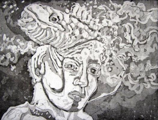 Wellenhexe - 15 x 20 cm - Aquatinta - 2013 (c) Radierung von Susanne Haun
