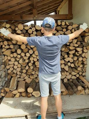 Le bois d'hiver est rangé (12 stères ) . Ce qui est fait n'est plus à faire.