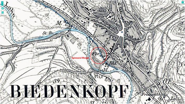 Lage der Wollspinnerei Weigel auf der Topographischen Karte von 1891