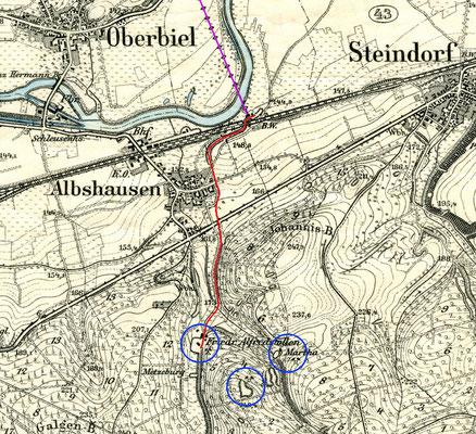 TK 1:25.000, Blatt Braunfels, Stand 1890/92 (rot: Grubenbahn vom Friedrich Albert-Stollen der Grube Laubach; violett: Seilbahn von der Grube Fortuna)
