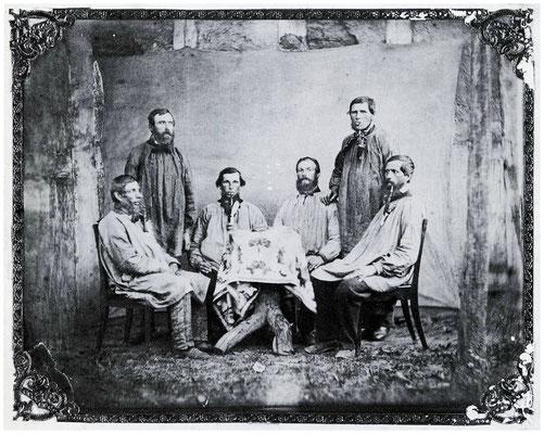 Der Steiger Johannes Stauß und die Bergleute der Grube Ludwig bei Dexbach, um 1875/80