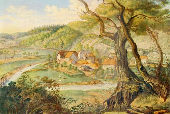 Die Audenschmiede im Weiltal, Gemälde von J.P.Beer, Frankfurt, um 1820