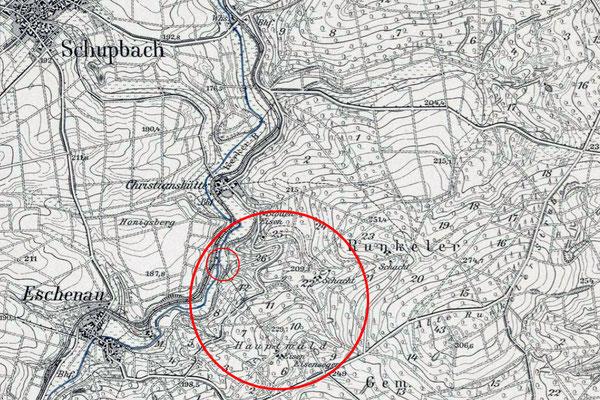 Topographische Karte mit Einzeichnung der Verladebrücke