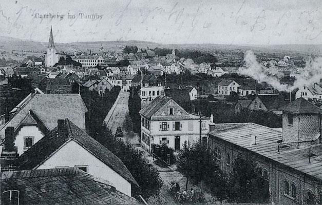 Die Camberger Brauerei (rechts) auf einer Postkarte von 1911