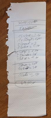 Papiertischtuch als Rechnung im Bouillon Chartier