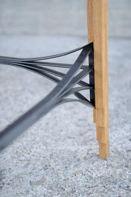 Verbindung von einem Stahlgurt mit einem Tischbein