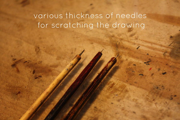 various thickness of needles for drawing Harigaki