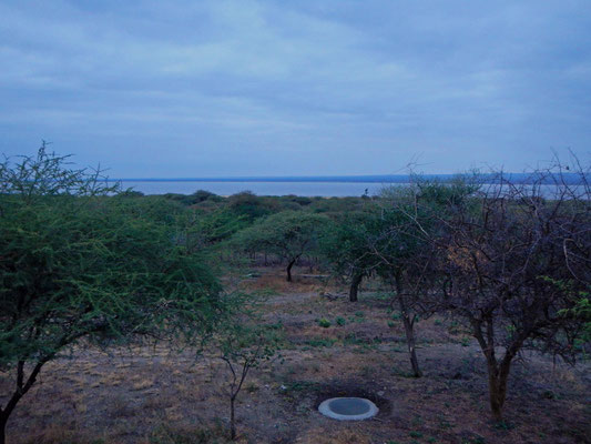 Blick von der Terrasse im Burunge Camp vor Sonnenaufgang / View from the terrace at Burunge Camp befor sunrise