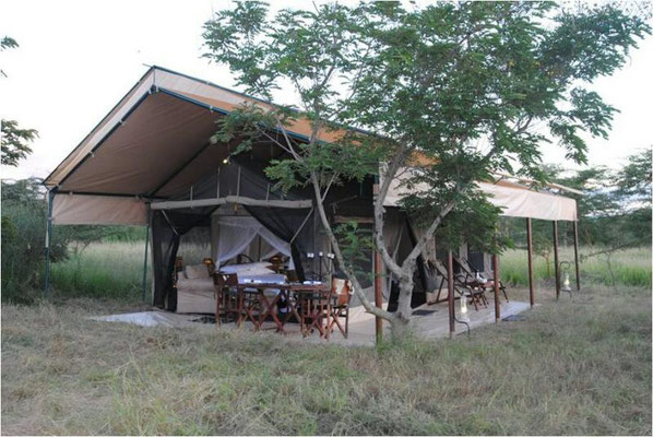 Unterkunft im Kati Kati Camp in der Serengeti / accommodation in the Kati Kati Camp in the serengeti
