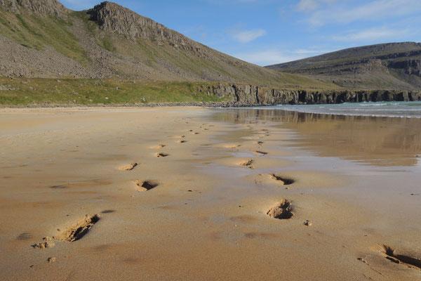 ...am einmaligen Strand Raudasandur
