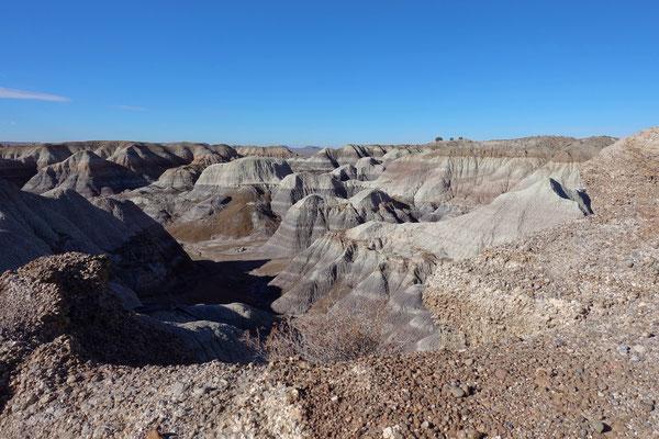 ...und steigen hinab zwischen die Hügel von Blue Mesa