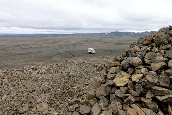 Blick vom Berg Kistualda auf der Sprengisandsleid