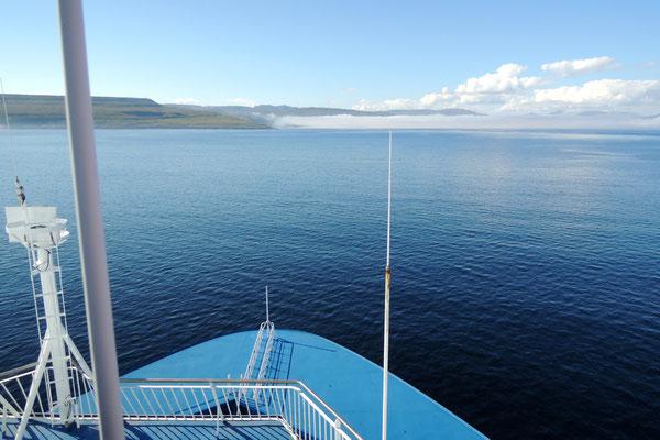 Auf der Norröna geht es übers Meer