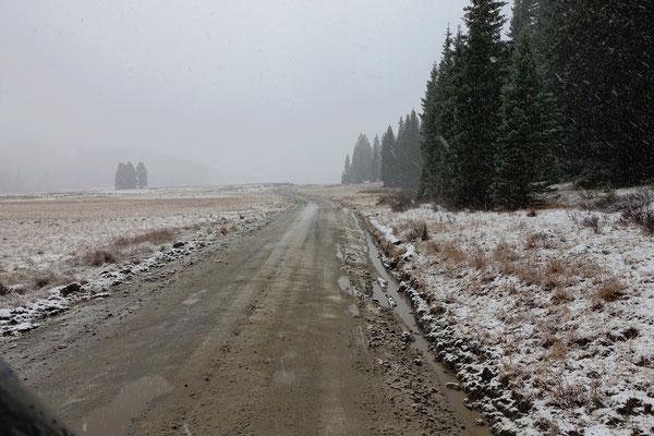 Es schneit auf dem Weg nach Telluride