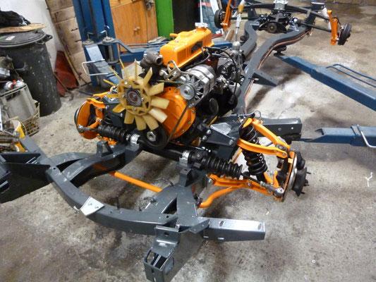 Motor und Getriebe montiert