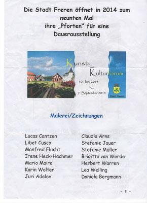 Flyer Ausstellung, Kunst im ländlichen Raum, Freren Juni 2014