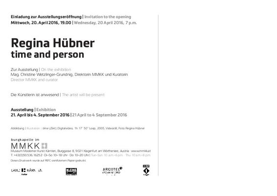 MMKK Museum Moderner Kunst Kaernten, Regina Huebner, time and person