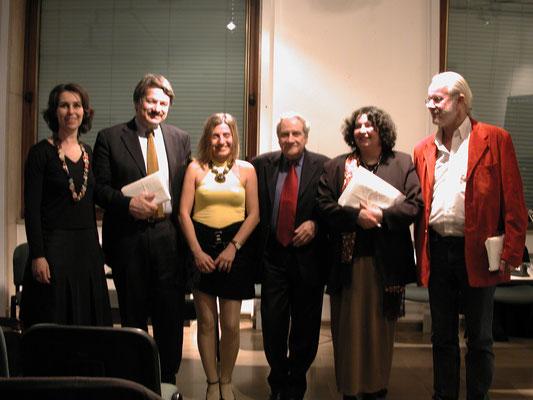 Austrian Cultural Forim Milan. Regina Huebner, Giancarlo Consonni, Gabriella Galzio, Carlo Sini, Director Stella Avallone, Arnulf Rohsmann.