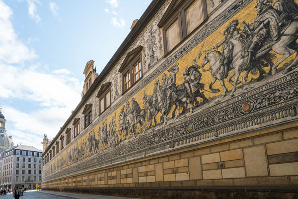 The Furstenzug (Procession of Princes) made of  23,000 Meissen tiles