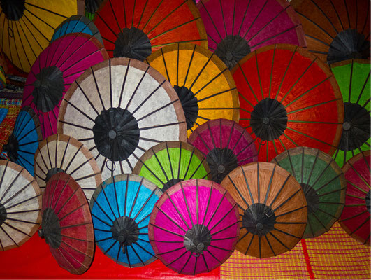 Umbrellas at night market, Luang Prabang, Laos