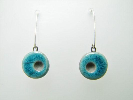 boucles d'oreilles raku bleues