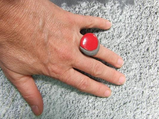bague ceramique raku rouge