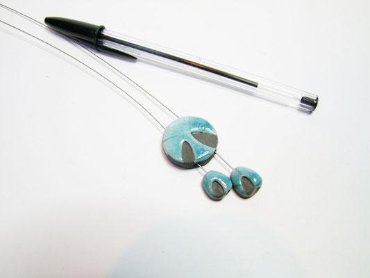bijou céramique raku bleu