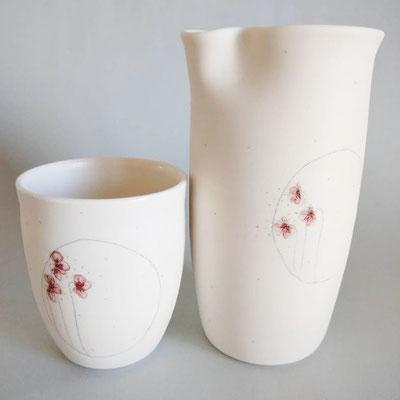 pichet et bol porcelaine de florence marquet