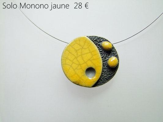 description du collier contemporain en raku jaune et noir