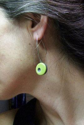 boucles d'oreilles céramique vertes