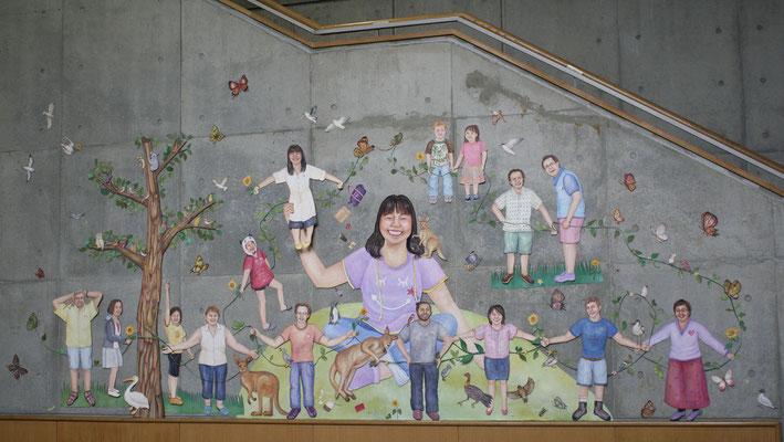 こんにちはこんにちはごっこ Hello game/女子美術大学 1号館壁面(神奈川)