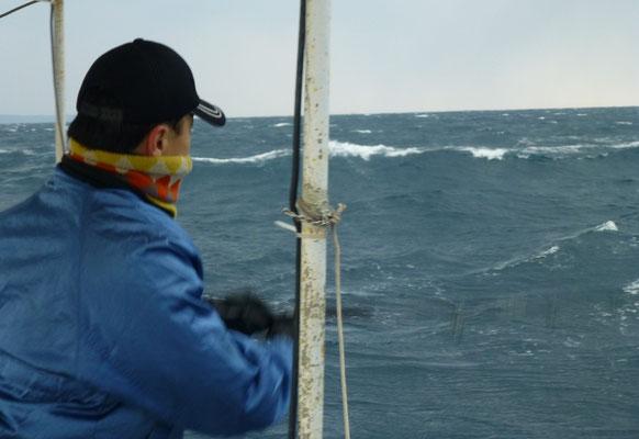 1月22日西北西の風10m~14m風強し