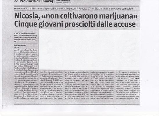 Giornale di Sicilia - 15 febbraio 2013 - Cinque giovani prosciolti dalle accuse: non coltivarono marjuana.