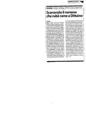 <<Scarcerato il romeno che rubò rame a Dittaino >>. Giornale di Sicilia, 6 maggio 2011