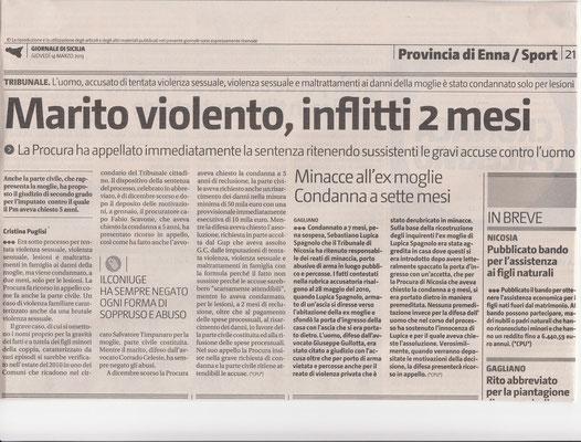 Giornale di Sicilia - 14 marzo 2013 - Marito violento, inflitti 2 mesi