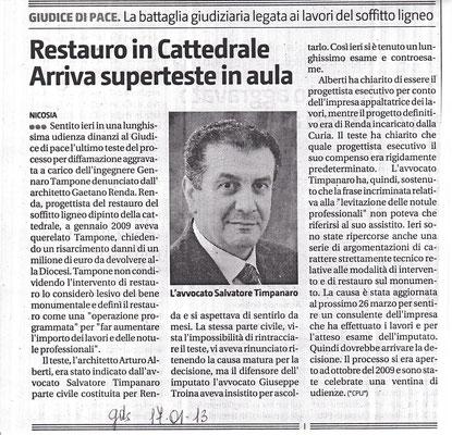 Giornale di Sicilia-17 gennaio 2013 Restauro in Cattedrale-Arriva superteste in aula