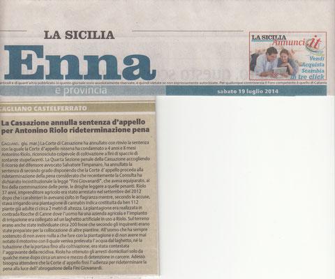 LA SICILIA, Sabato 19 luglio 2014