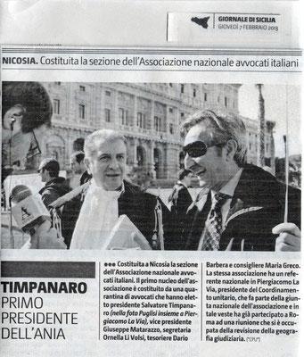 Giornale di Sicilia-7 febbraio 2013- Timpanaro primo presidente dell'ANAI