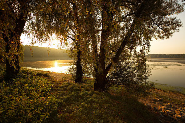 Sonnenaufgang am Hullerner Stausee.
